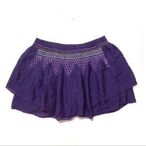 AE Purple Embroidered Mini Skirt NWT